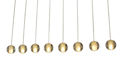 Orion 8 Light Rectangular Floating Glass Globe LED Chandelier, Antique Brass