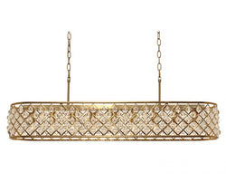 Cassiel 40 Inch Rectangular Crystal Chandelier, Brass