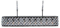 Cassiel 40 Inch Rectangular Crystal Chandelier, Black