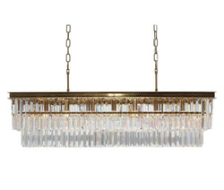 D'Angelo 40 Inch Clear Glass Crystal Prism Chandelier, Brass