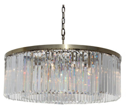 D'Angelo 12 Light Round Clear Glass Crystal Prism Chandelier, Antique Brass