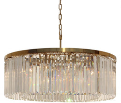 D'Angelo 12 Light Round Clear Glass Crystal Prism Chandelier, Brass