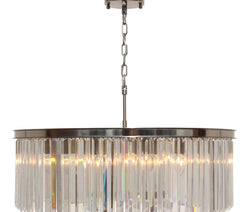 D'Angelo 12 Light Round Clear Glass Crystal Prism Chandelier, Brushed Nickel