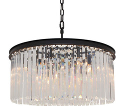 D'Angelo 8 Light Round Clear Glass Crystal Prism Chandelier, Black, Small