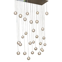 Ara 28 Light Glass Sphere Rectangular LED Chandelier