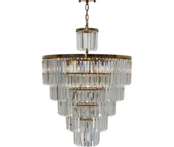 D'Angelo 13 Light 6 Tier Clear Glass Crystal Prism Chandelier, Brass
