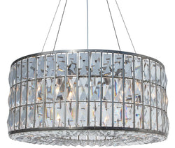 The Monroe Round Clear Crystal Chandelier, Brushed Nickel