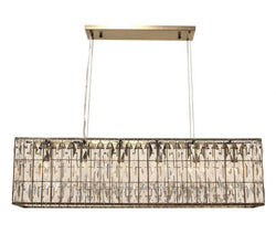 The Monroe Rectangular Clear Crystal Chandelier, Antique Brass