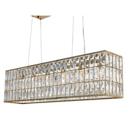 The Monroe Rectangular Clear Crystal Chandelier, Brass