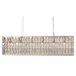 The Monroe Rectangular Clear Crystal Chandelier, Brushed Nickel