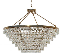 Celeste Tapered Glass Drop Crystal Chandelier, Brass