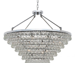 Celeste Tapered Glass Drop Crystal Chandelier, Chrome