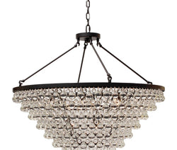Celeste Tapered Glass Drop Crystal Chandelier, Black