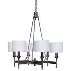 Stella 6 Light Brushed Nickel Chandelier, White Shade