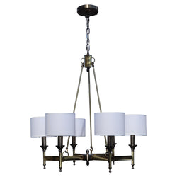 Stella 6 Light Antique Brass Chandelier, White Shade