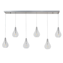 The Mia Rectangular Glass Chandelier, Brushed Nickel