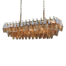 Ciara Linear Faceted Amber Glass Chandelier, 7-Light