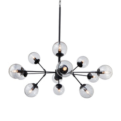 Bistro Clear Glass Globe Chandelier, 12 Light Black Finish
