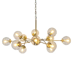 Bistro Clear Glass Globe Chandelier, 12 Light Antique Brass Finish