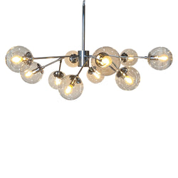 Bistro Clear Glass Globe Chandelier, 12 Light Chrome Finish