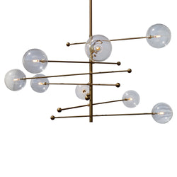 Miranda 8-Light Glass Globe Mobile Satellite Chandelier, Brass 47""