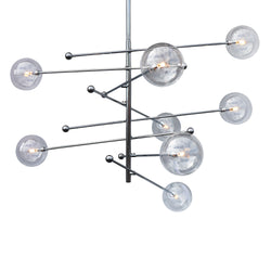 Miranda 8-Light Mobile Glass Globe Satellite Chandelier, Chrome 47""