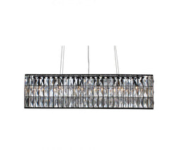 The Monroe Rectangular Clear Crystal Chandelier, Black