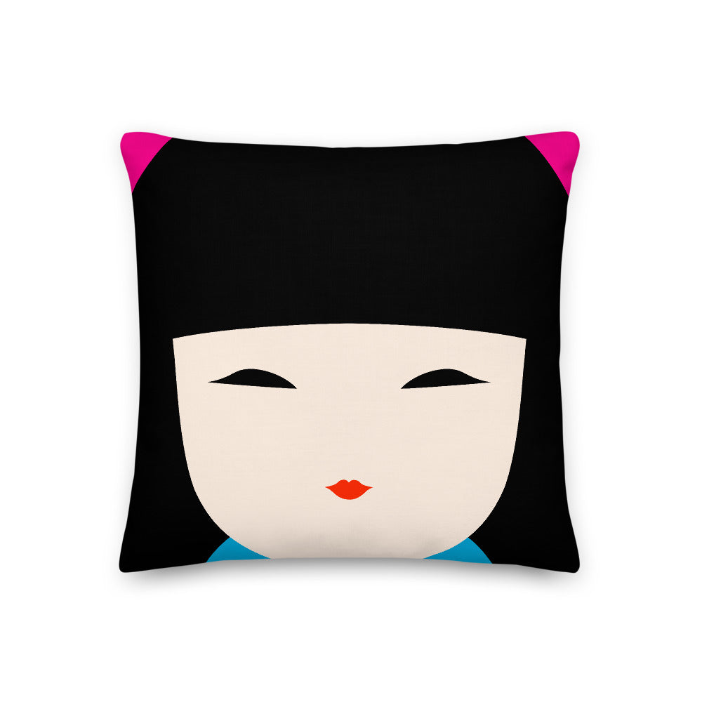 Japanese Kokeshi Doll Square Throw Pillow
