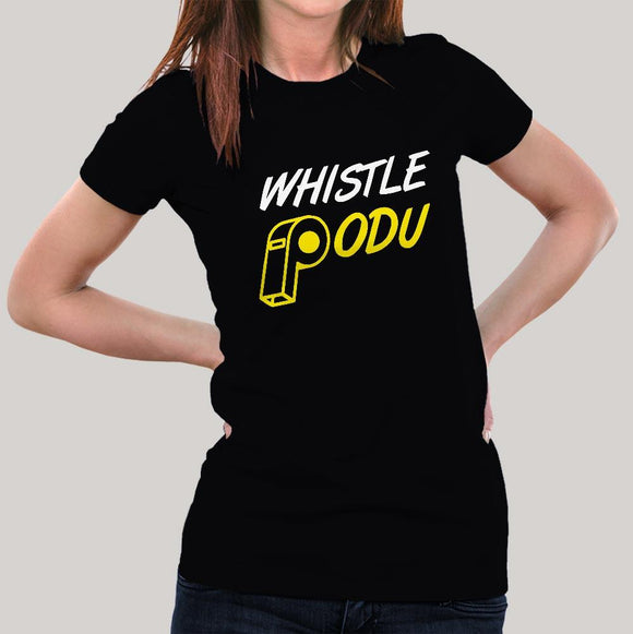 827f15134ee6b Buy #WhistlePodu Women's CSK T-shirt