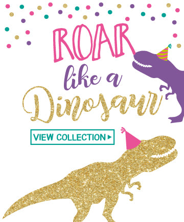 Dinosaur Purple & Glitter<br>Invitations