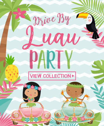 Drive-By Luau Party<br>pink & blue