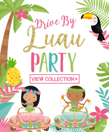 Drive-By Luau Party<br>gold & white