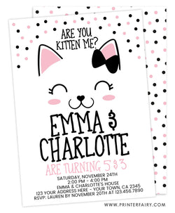 Kitty Cat Siblings Birthday Invitation