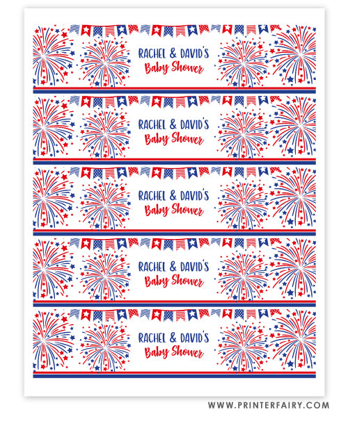 4th July Baby Shower Water Bottle Labels