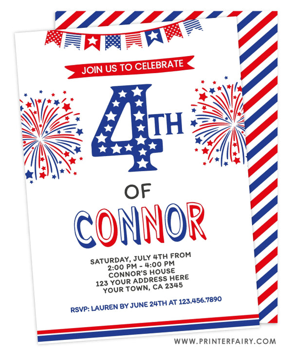 4th of July 4th Birthday Invitation