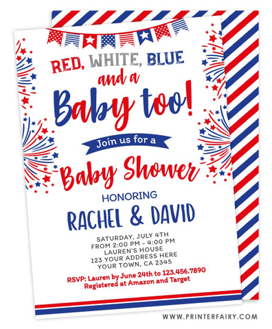 4th July Baby Shower Invitation
