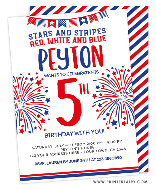 4th July Birthday Invitation