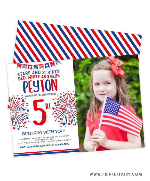 4th July Birthday Invitation with Photo