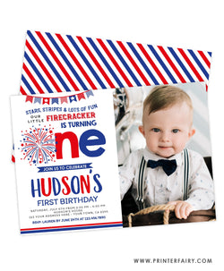 4th July First Birthday Invitation with photo