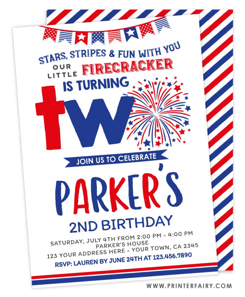 4th July Second Birthday Invitation