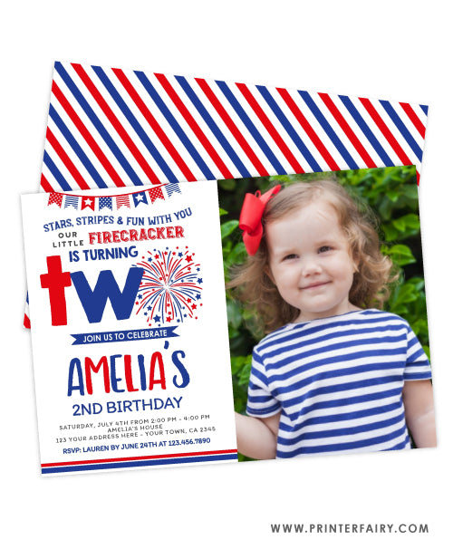4th July Second Birthday Invitation with photo