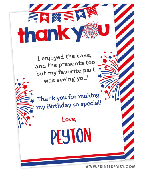 4th July Thank You Cards