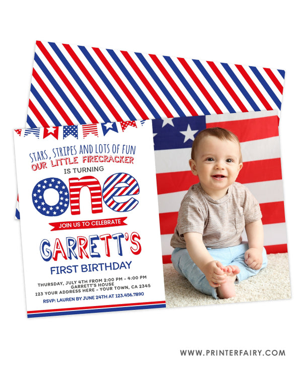 4th of July First Birthday Invitation with Photo