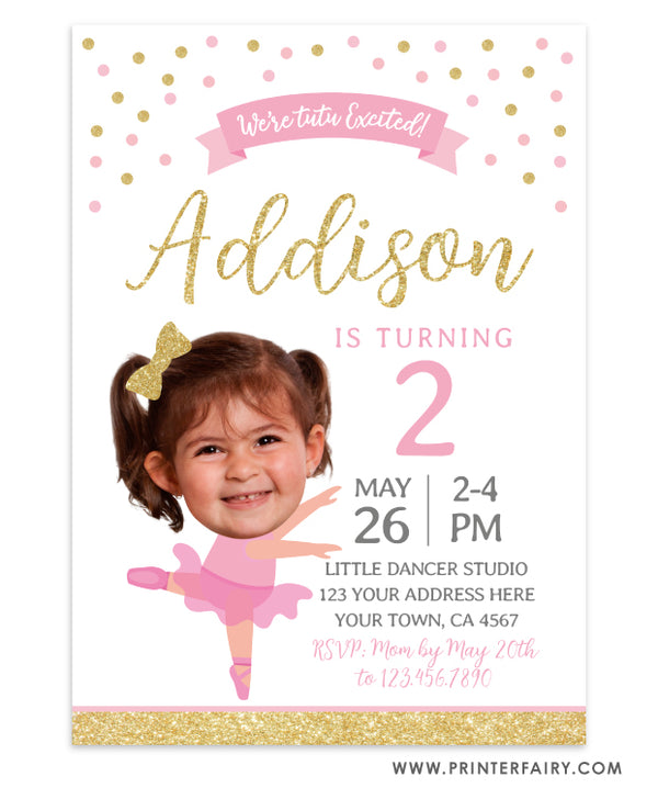 Ballerina Birthday Invitation with Photo