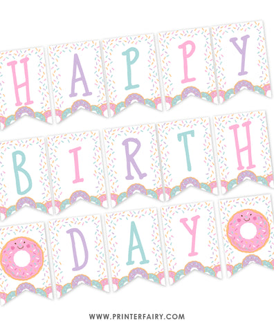 Donut Birthday Banner