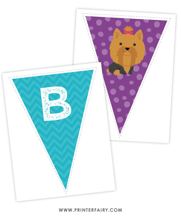Puppy Happy Birthday Banner