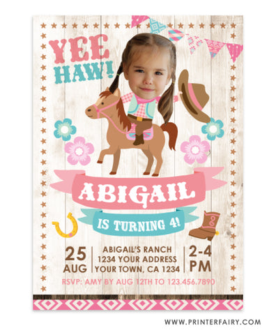 Cowgirl Birthday Party Invitation with Photo