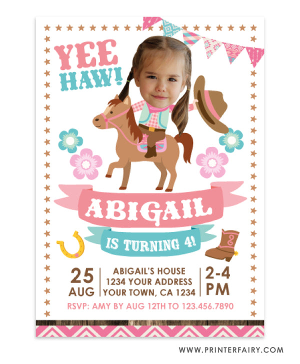 Cowgirl Birthday Invitation with Photo
