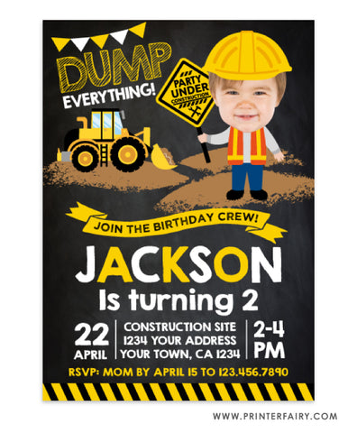 Construction Party Invitation with Photo
