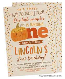 Donut Pumpkin First Birthday Invitation